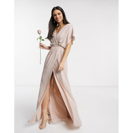 Bridesmaid short sleeved cowl front maxi dress with button back detail in Blush